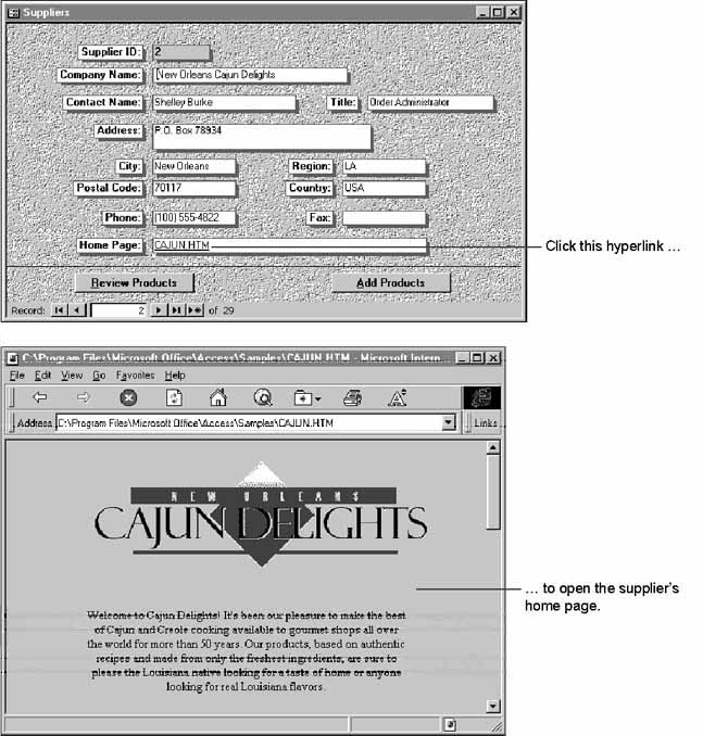 Using Hyperlinks in Microsoft Access Applications